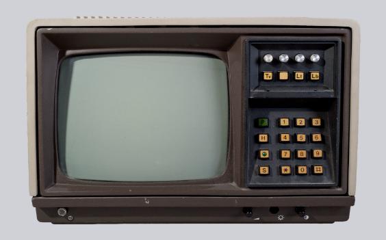 Zwart wit tv met Teletekst klein