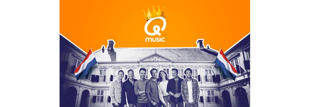 Qmusic op locatie bij Paleis Noordeinde tijdens Koningsdag